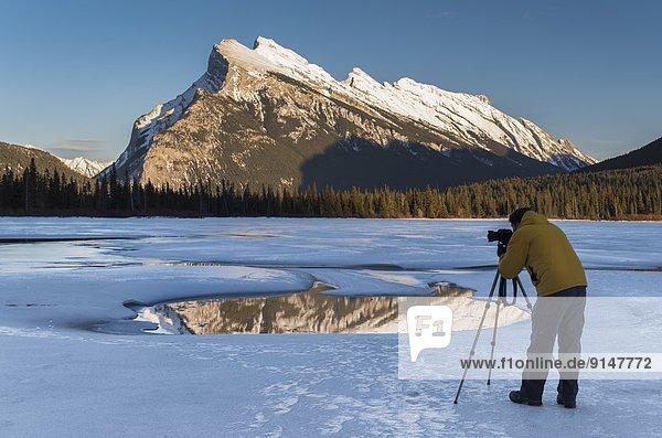 Winter  Fotografie  See  Fotograf  Composite  Berg  Alberta  Banff  Kanada  gefroren