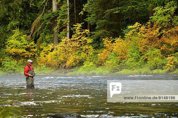 Fly fisherman in waders  Umqua River Oregon Steelhead Fishing