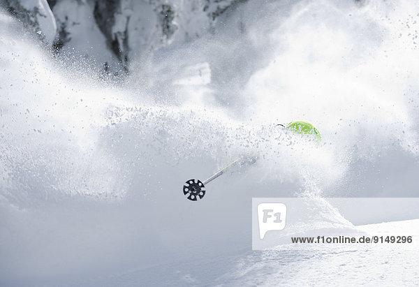 Skifahrer  schneiden  Gesichtspuder  tief  Utah