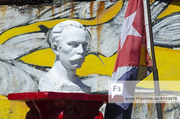 Havanna  Hauptstadt  Fahne  Büste  Kuba  kubanisch