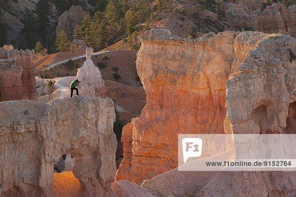 Vereinigte Staaten von Amerika  USA  Sonnenaufgang  Fotograf  Bryce Canyon Nationalpark  Schlucht  Utah