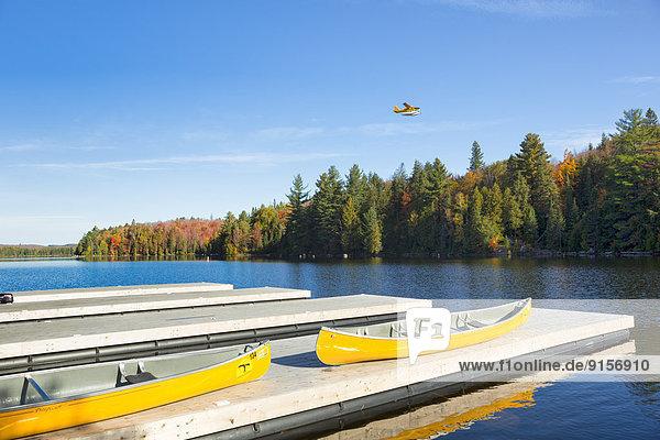 Canoes on dock  Canoe Lake  Algonquin Provincial Park  Ontario  Canada