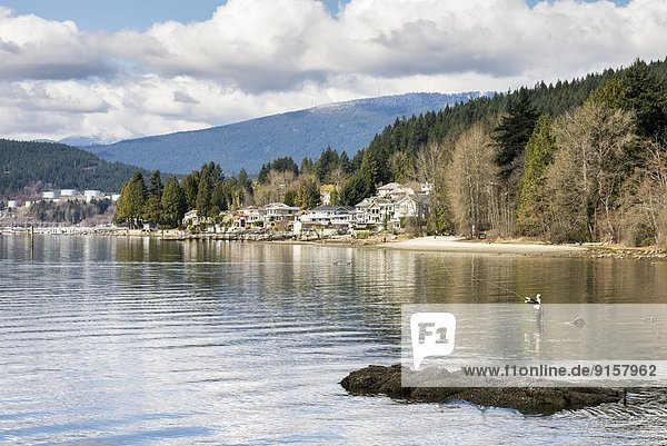 Hafen Felsen ernst angeln zeigen British Columbia Kanada Fischer Meeresarm