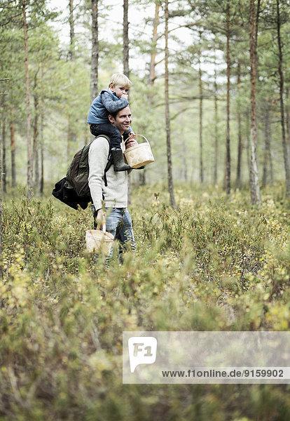 Vater trägt Sohn auf Schultern im Wald