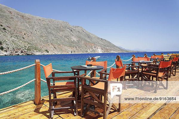 Hafen Cafe Terrasse Kreta Griechenland