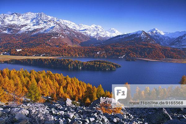 Berglandschaft mit Silsersee,  Oberengadin,  Schweiz