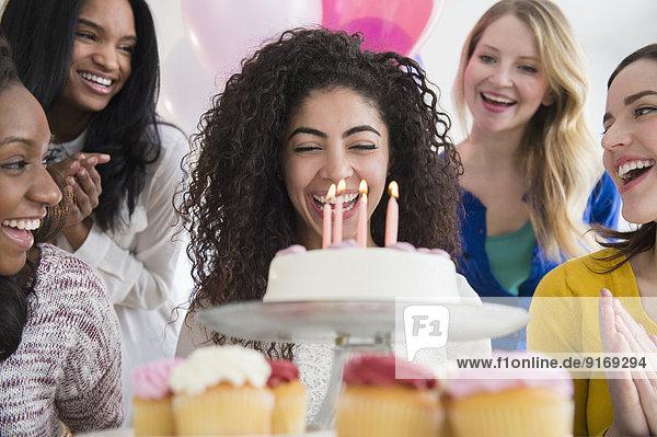 Women celebrating birthday together