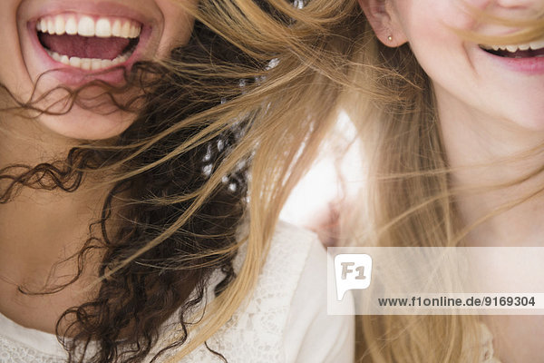 Close up of women's hair blowing in wind