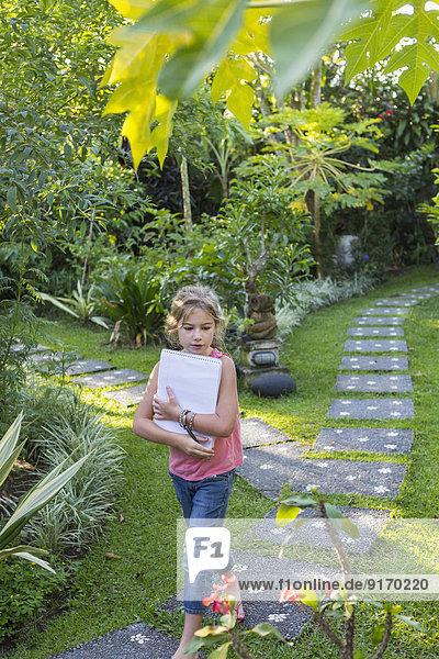 Europäer Garten Notizblock Mädchen Hinterhof Notebook