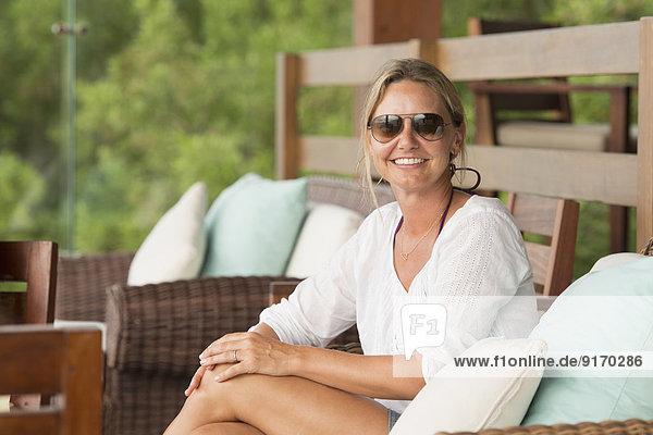 Caucasian woman relaxing outdoors