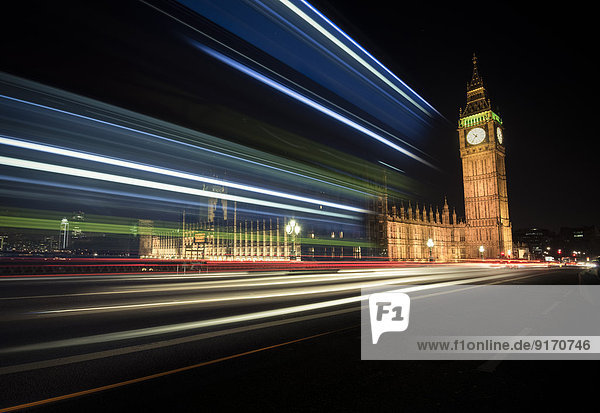 UK  London  Big Ben and Houses of Parliament  long time exposure
