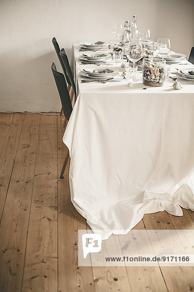 Festive laid table  maritime theme with shells
