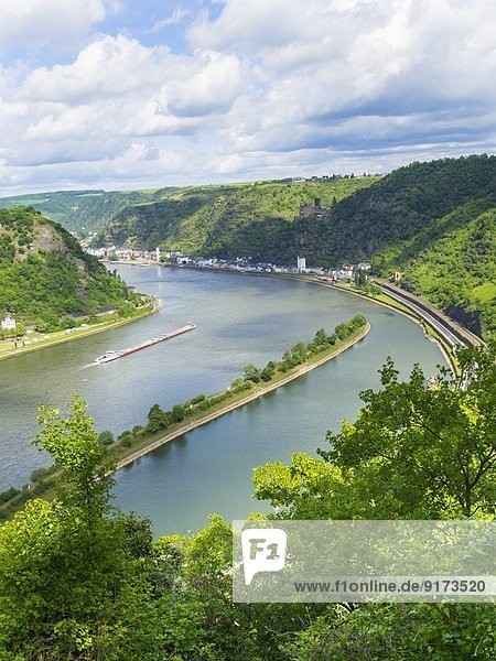 Germany  Rhineland-Palatinate  view from Loreley at Middle Rhine valley