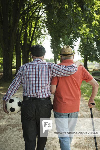 Zwei alte Freunde beim Spaziergang im Park mit Fußball  Rückansicht