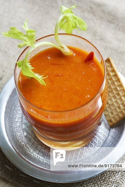 Red pepper and orange gazpacho with celery and corn Red pepper and orange gazpacho with celery and corn