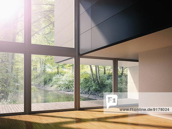 Interieur des modernen Wohnzimmers mit Blick auf den Bach  3D-Rendering