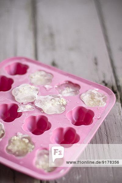 Eisblumen mit Holunderblüten in rosa Eisschale