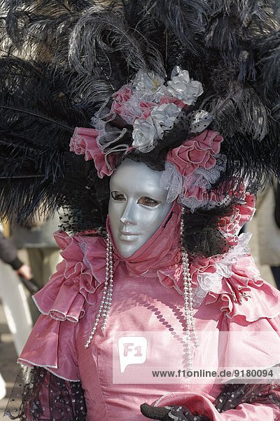 Italy  Venice  woman wearing fancy-dress costume at carnival