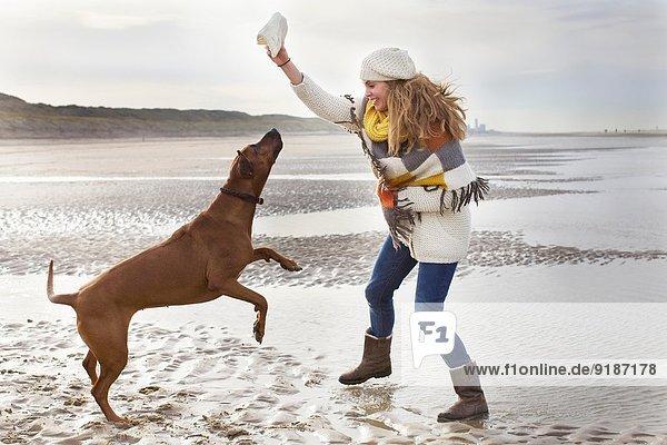 Mittlere erwachsene Frau am Strand  Bloemendaal aan Zee  Niederlande