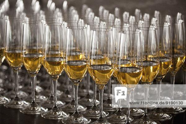 Weißweingläser auf dem Tisch arrangiert