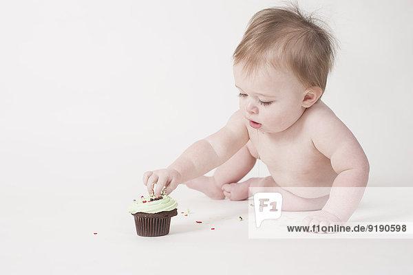 Volle Länge des Babys  das Muffin vor weißem Hintergrund isst.