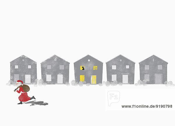 Eine Person schaut vom Fenster aus zu  wie der Weihnachtsmann vorbei rennt