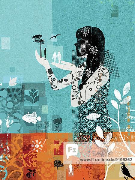 Collage einer Frau die die Umwelt schützt Collage einer Frau die die Umwelt schützt
