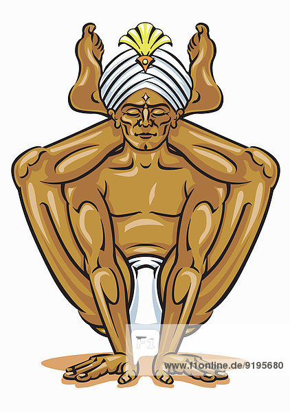 Beweglicher Mann meditiert in Yoga-Position und balanciert auf den Händen