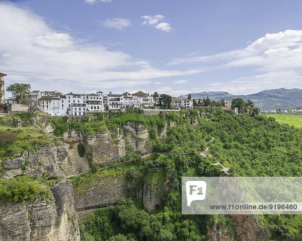 Felsbrocken Anschnitt Geschichte steil Ronda Spanien