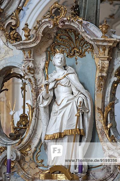 Der heilige Katharina  307 enthauptet  Gnadenaltar  von J.M. Feichtmayr  Basilika Vierzehnheiligen  1743 bis 1772  Architekt Balthasar Neumann  Bad Staffelstein  Oberfranken  Bayern  Deutschland