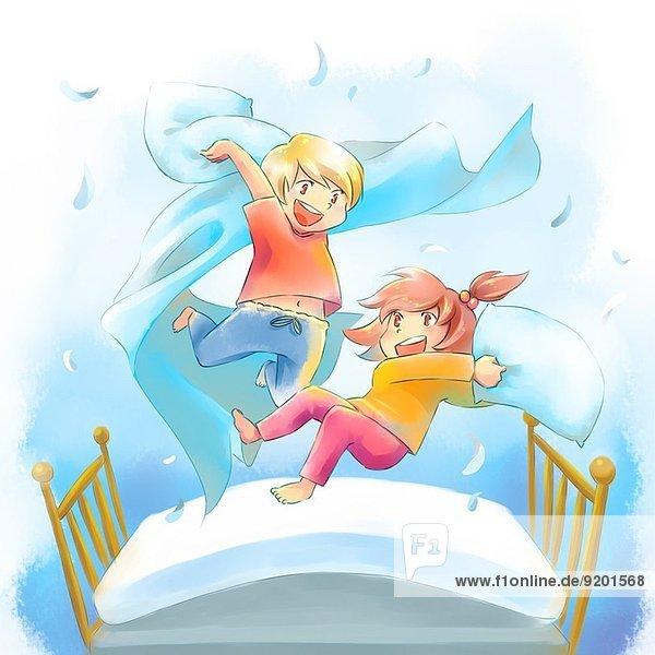 Fröhlichkeit Kampf Illustration Bett Kopfkissen