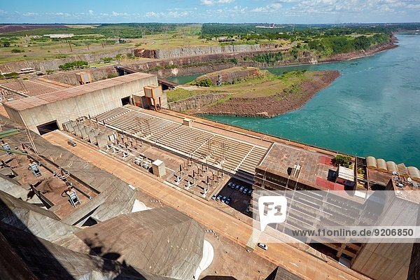 Itaipu Binacional Hydroelectric Power Plant. Generator of renewable clean energy. Itaipu Dam. Foz do Iguaçu. Paraná. Brazil. Border between Brazil and Paraguay.