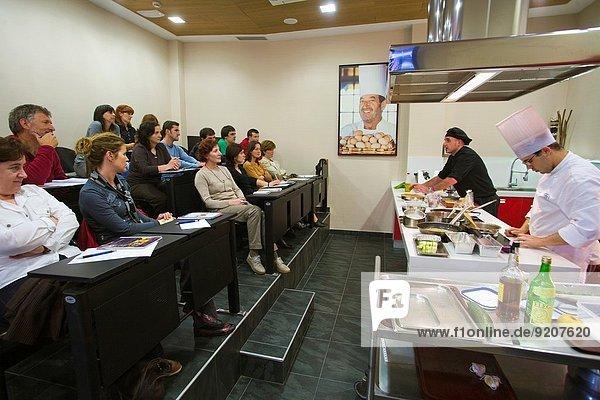 Lesson in Aiala Hostelry School by the chef Karlos Argiñano. Zarauz. Gipuzkoa. Guipuzcoa. Pais Vasco. Basque Country. Euskadi. Spain.