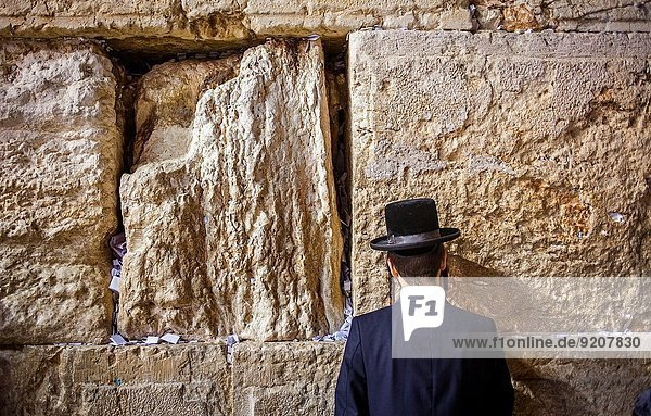 Jerusalem Hauptstadt Mann Gebet Israel Klagemauer
