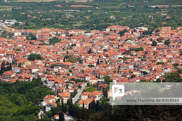 Stadt Ansicht Erhöhte Ansicht Aufsicht Berg heben Griechenland