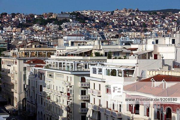 Stadtmauer Gebäude Straße Nachmittag Thessaloniki Griechenland alt