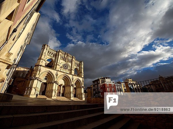View of the facade of the cathedral of Santa Maria and San Juan Julian at sunset. Cuenca. Spain.