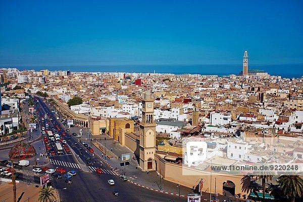 Morocco  Casablanca  Old Medina and Hassan II mosque.