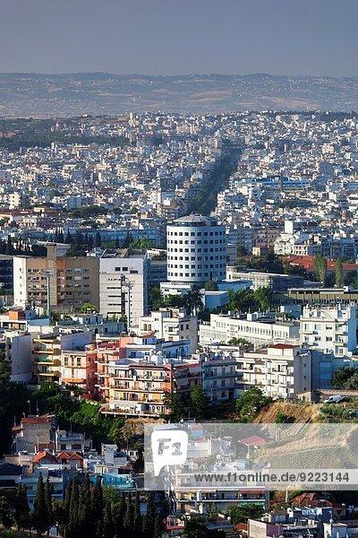 Stadt Großstadt Ansicht Erhöhte Ansicht Aufsicht heben Thessaloniki Griechenland