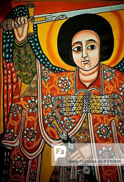 Painting in the Ethnological Museum. Addis Ababa  Ethiopia.