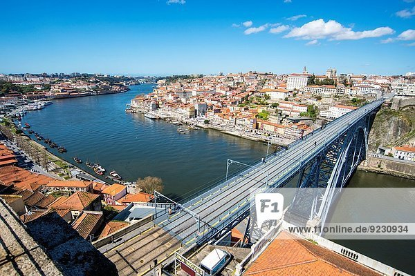 The Dom Luis I Bridge over Douro river  Porto  Douro Litoral Province  Portugal  Europe.