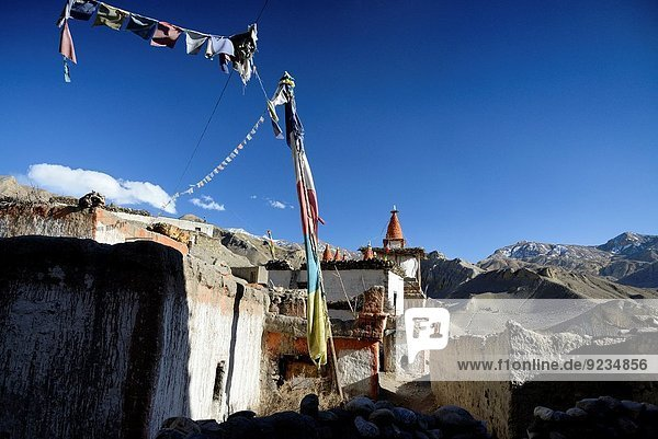 nahe Straße Dorf Grenze Mustang Nepal Tibet