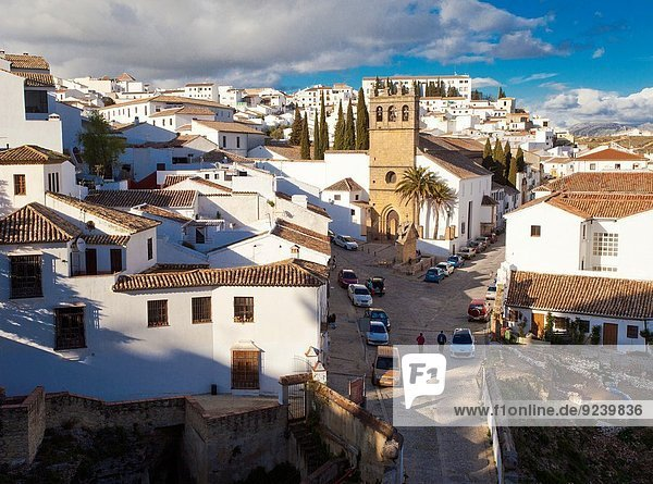 Ronda from the Arco de Felipe V  Archway of Philip V  church of Nuestro Padre Jesús  Ronda  White Towns  Malaga province  Andalusia  Spain  Europe.