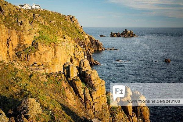 nahe, Sonnenuntergang, über, Steilküste, Landschaft, Cornwall, Ende, England