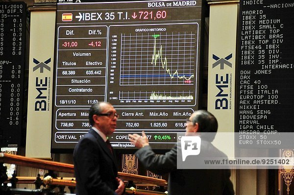 Traders in the Madrid Stock Exchange.