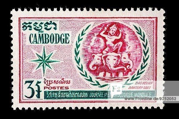 Illustration Briefmarke Kambodscha alt