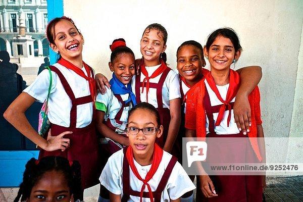 School children in uniforms visiting the planetarium at Plaza Vieja.