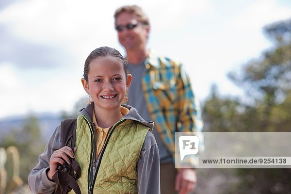 Portrait of father and daughter out hiking  Sedona  Arizona  USA