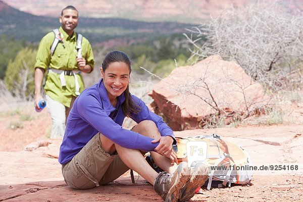 Portrait of mature female hiker and her boyfriend  Sedona  Arizona  USA