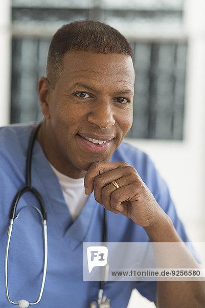 Portrait of male doctor in hospital